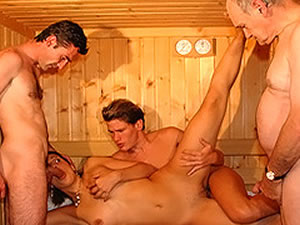 Wet anal orgy in the sauna